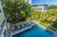 pool faces quiet backyard