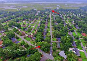 Aerial view of short distance from 1079 Orange Grove Rd to boat landing and Ashley River.