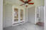 Screen porch with new ceiling fan