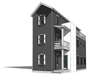 Front rendering of the home