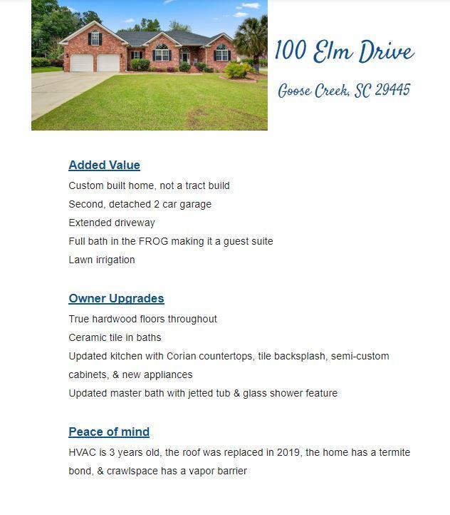 100 Elm Drive Goose Creek, SC 29445