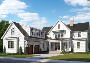 """Front view rendering of this custom designed """"May River"""" plan on Bolden Lake"""