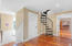 Spiral staircase to bonus room upstairs
