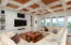 Living Room with Custom Coffered Ceiling