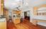 Built-in homework/work-station in open kitchen layout.