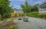 Backyard fireplace sitting area