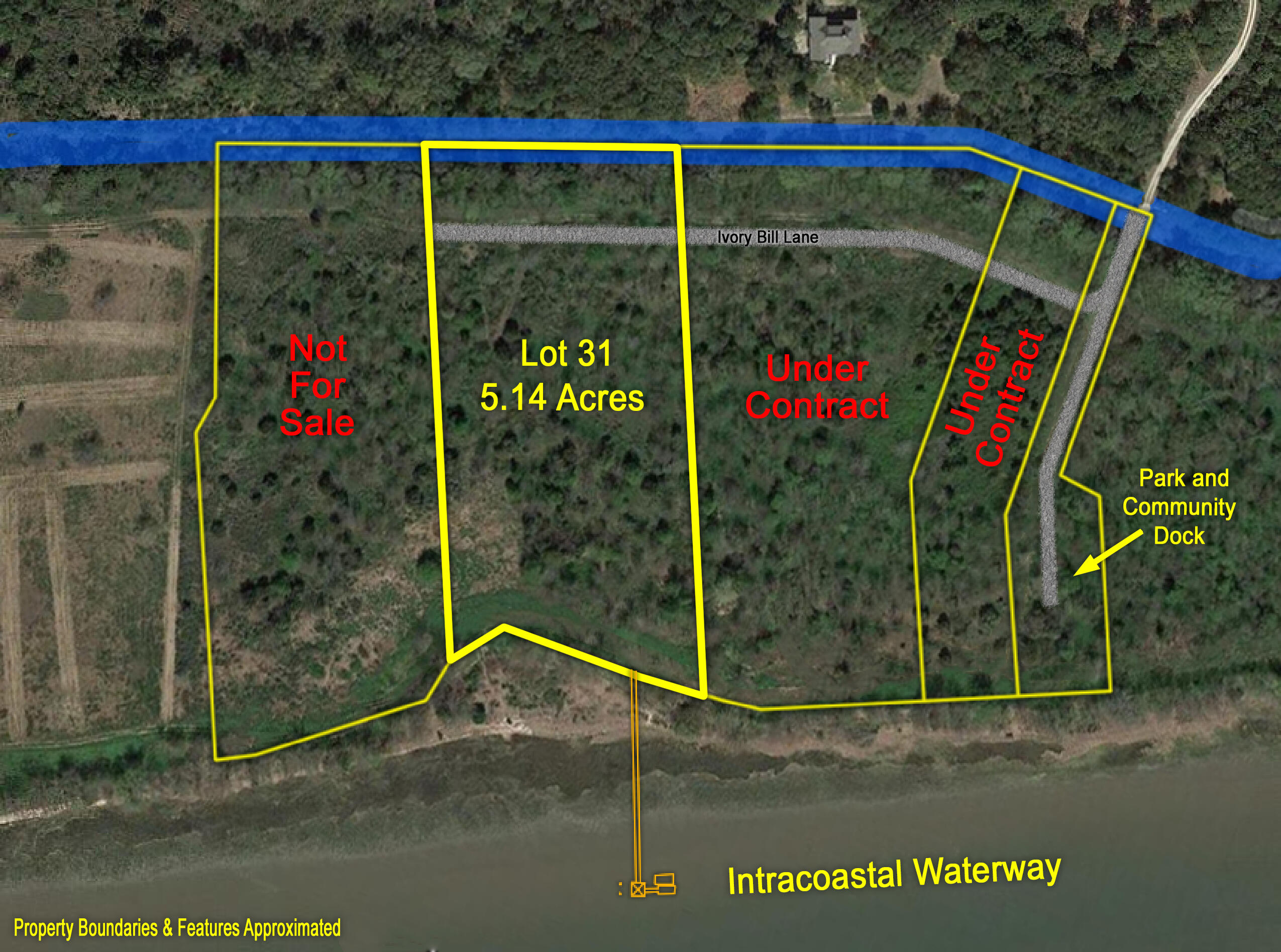 Last remaining ICW waterfront lot for sale in Mouzons Bluff! Deep-water lot rising nearly 20 feet above the water's edge in an x flood zone with no requirement to build up. This location offers a truly unparalleled view of the Intracoastal Waterway and the protected marshes, creeks, barrier islands, lighthouses, and uninhabited beaches of the Cape Romain Wildlife Refuge. This paradise awaits less than 22 traffic-free miles (25 minutes) north of Mount Pleasant where you can truly escape the hustle and bustle of the outside world! The tract has nearly 300 feet of frontage on the ICW. Master Dock plan approved and proposed dock application calls for a 268' walkway to the pier head with floating dock and boat lift. 5-bedroom septic permits pending.  Listing agent is related to sellers.