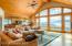 Living Room with Panoramic Views & Custom Milled Hemlock Ceiling
