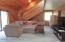 Vaulted Living Room - New Carpet, Diagonal Cedar on Walls, Slider to Deck