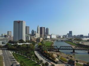 Downtown Columbus views from the great room and balcony.