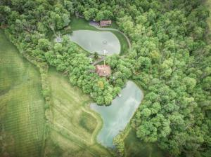 Two large ponds with wood docks, front pond has fountain/aeration system, both ponds well maintained and stocked with fish, 15 acres tillable, 30+ acres woods.