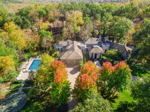 Aerial view of 5000 Deer Run Drive, a true country oasis. Once in a lifetime property!