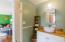 Updated wood top elevated sink vanity