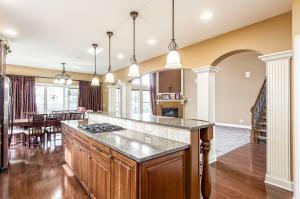 Gourmet kitchen facing great room