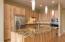 Custom lighting and granite counters.