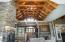 Wood beamed cathedral ceiling