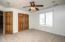 """• New tan carpet ~2018 • Ivory painted walls • Lighted ceiling fan • Closet with french doors • 2"""" blinds"""