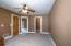 """• New tan carpet ~2018 • Brown painted walls • Lighted ceiling fan • 2"""" blinds"""