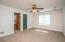 • New tan carpet ~2018 • Ivory painted walls • Lighted ceiling fan