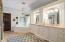 Stunning Double Vanity w/ Travertine Counter & Plenty of Cabinet & Drawer Space - Ceramic Tile Flooring - Corner Garden Bathtub w/ Glass Block Window