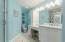 Multi-Level Vanity w/ Carrara Marble Counter Top, Make-up Vanity, Ceramic Tile Flooring, Tiled Walk-in Shower & Linen Closet