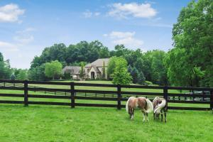 Enter the private gate & into this idyllic 9 acre estate in the heart of Powell! Surrounded by over 30 acres of greenspace, this home exudes beauty & serenity with a 1 acre pond, fishing dock, carriage house, & mini stable w/ pasture. The custom built Heinlen-Follmer main house has over 8,000 sqft of above grade living with detailed finishes- white oak flooring, granite + marble countertops, coffered ceilings, & a limestone fireplace. The owner's suite w/ dual closets (with w/d) & luxurious bath is located conveniently on the 1st floor & upstairs you'll find 5 spacious bedrooms, one w/ private terrace. The 800 sqft bonus room could function as a 7th bedroom suite, w/ private garage access & full bath. Plus a paneled study, LL walkout w/ fireplace, & tiered patios w/ outdoor fireplace.