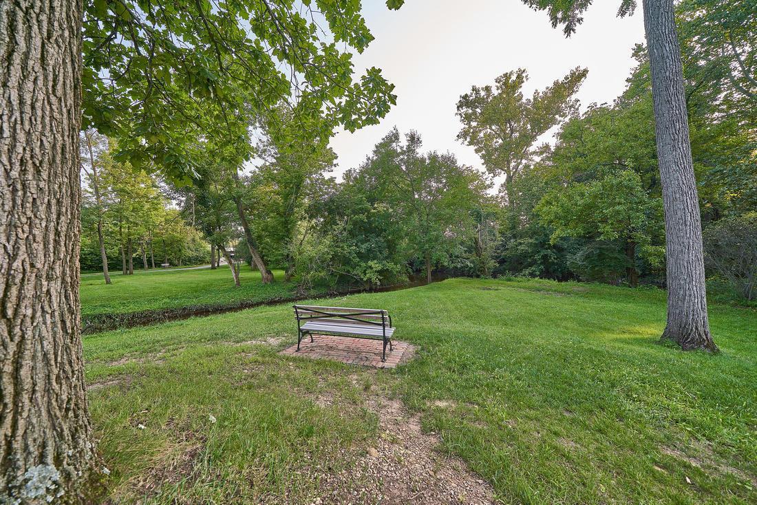 ox park bench overlooking creek