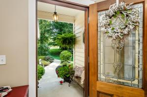 Welcome home! Custom mahogoany and stained glass door