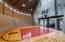 Entertainment area basket ball court with climbing wall