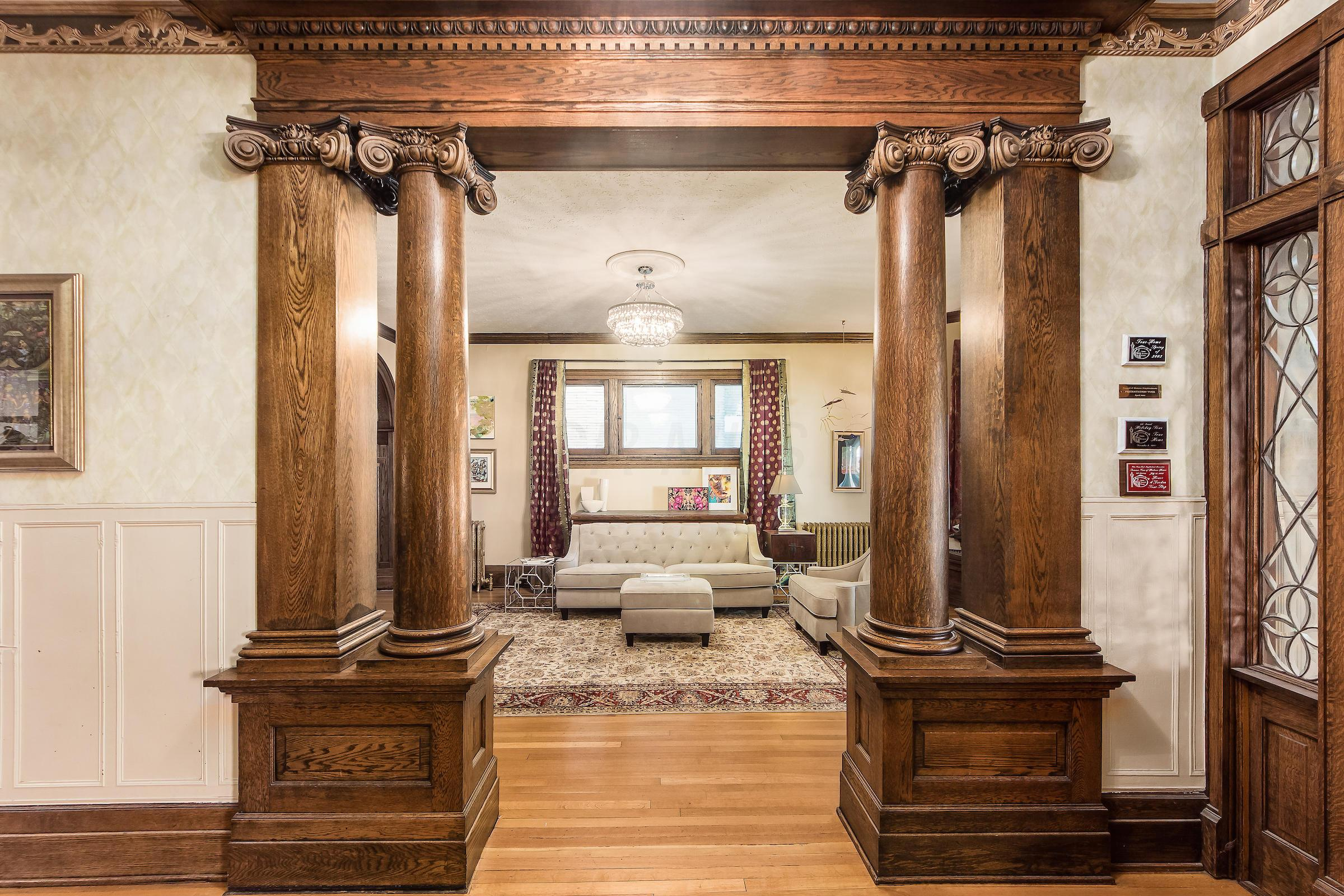 Columned Entry into Living Room