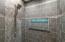 Complete renovation of bathroom, dual rain shower system, designer tile