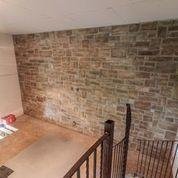 stone wall in rec room