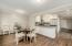 Kitchen opens up onto Dining room