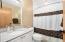 Updated full bath with quartz countertop & Bath Fitter Tub & Surround