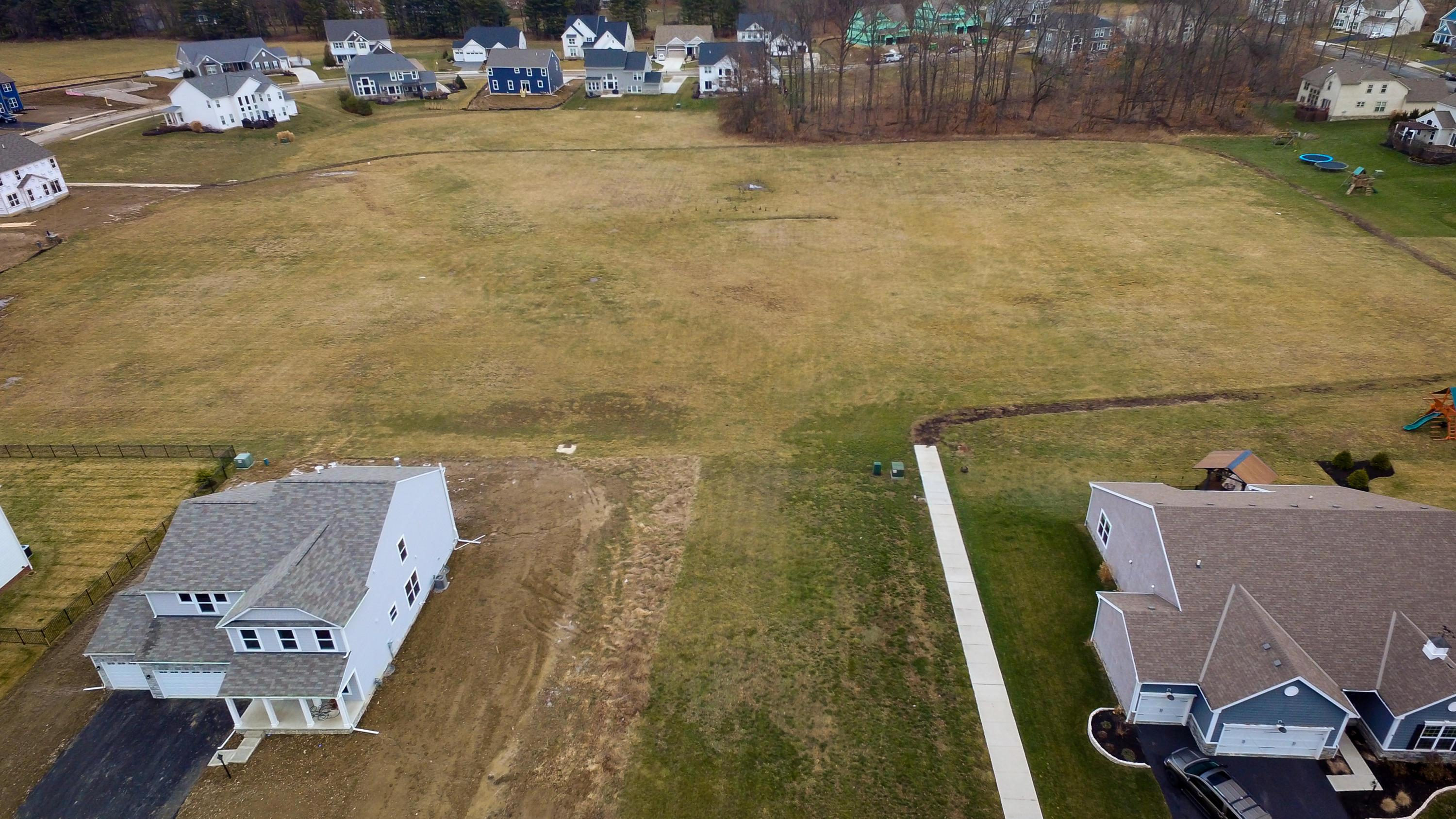 Overhead view of lot and green space