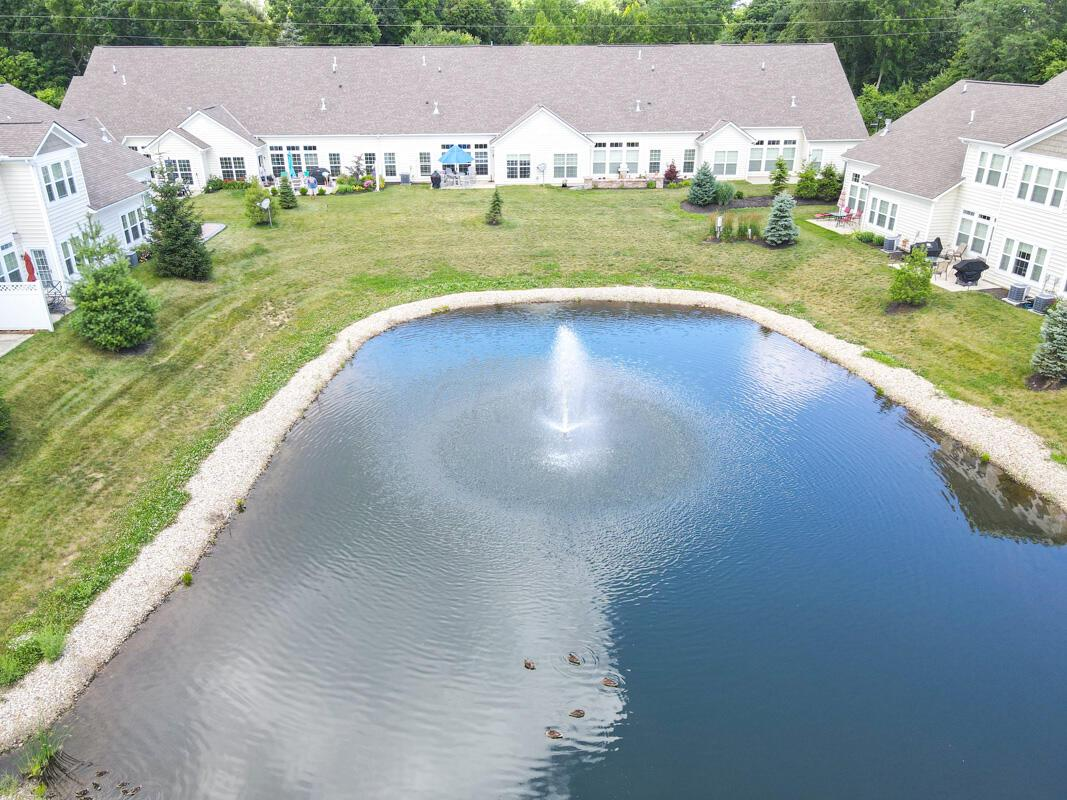 Drone View of Fountain/Pond