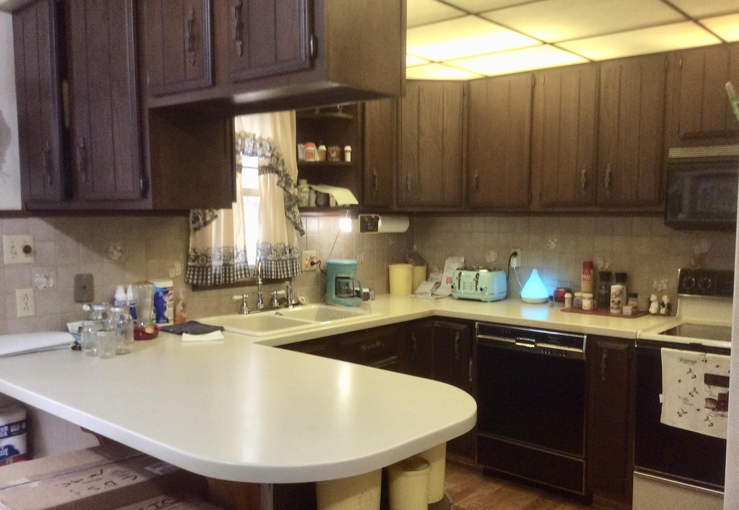 Open kitchen has Corian countertops