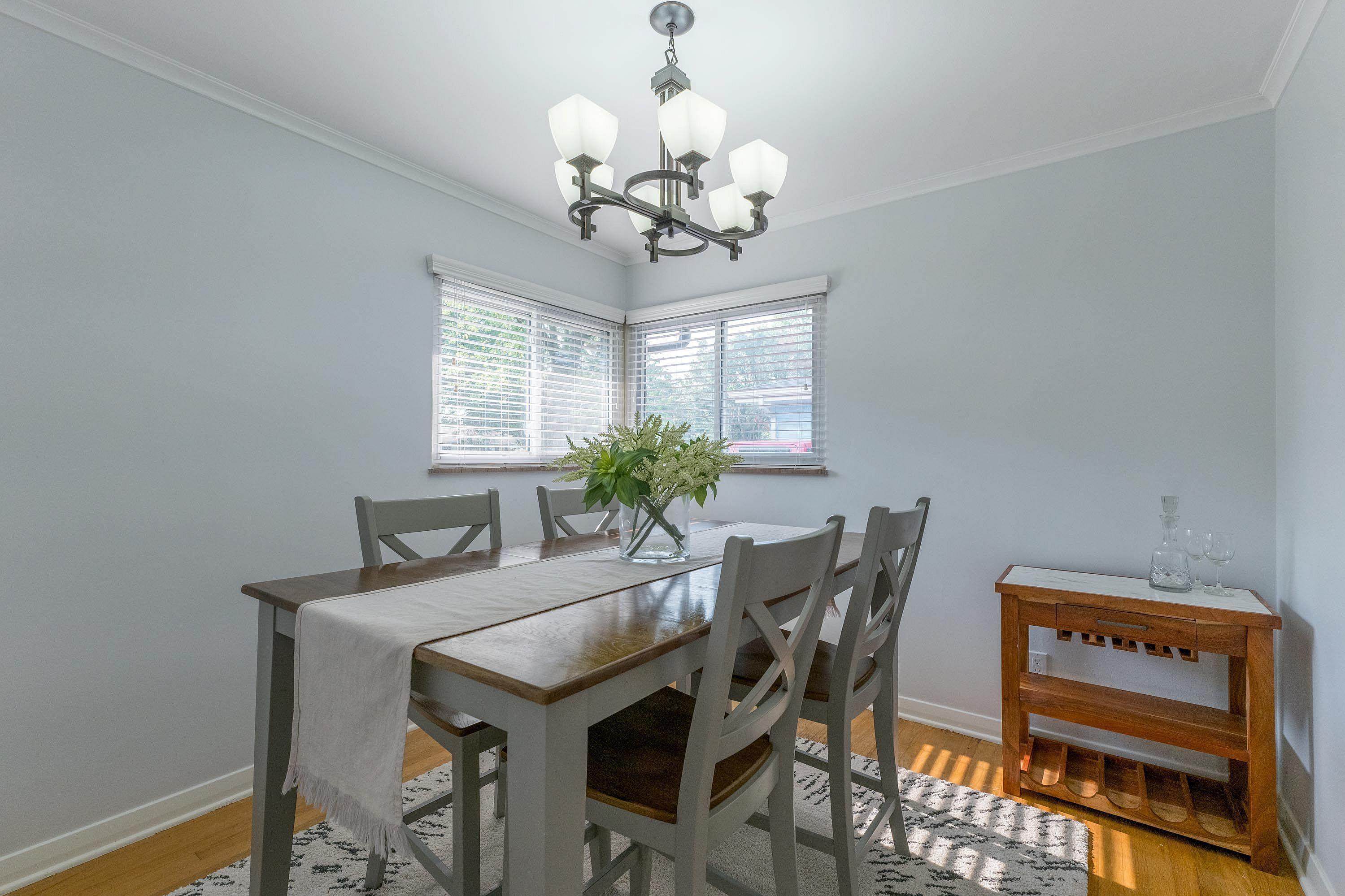 Dining room has natural light
