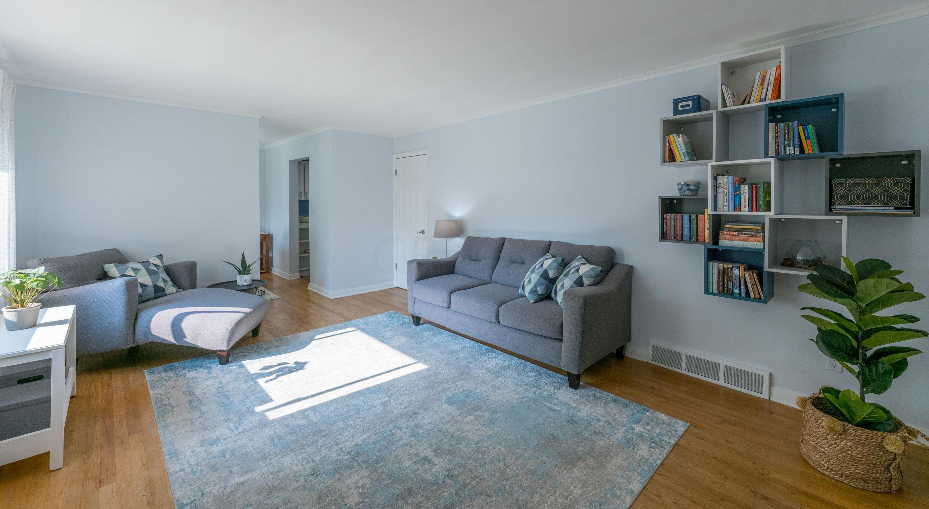 Living room has original hardwood floors