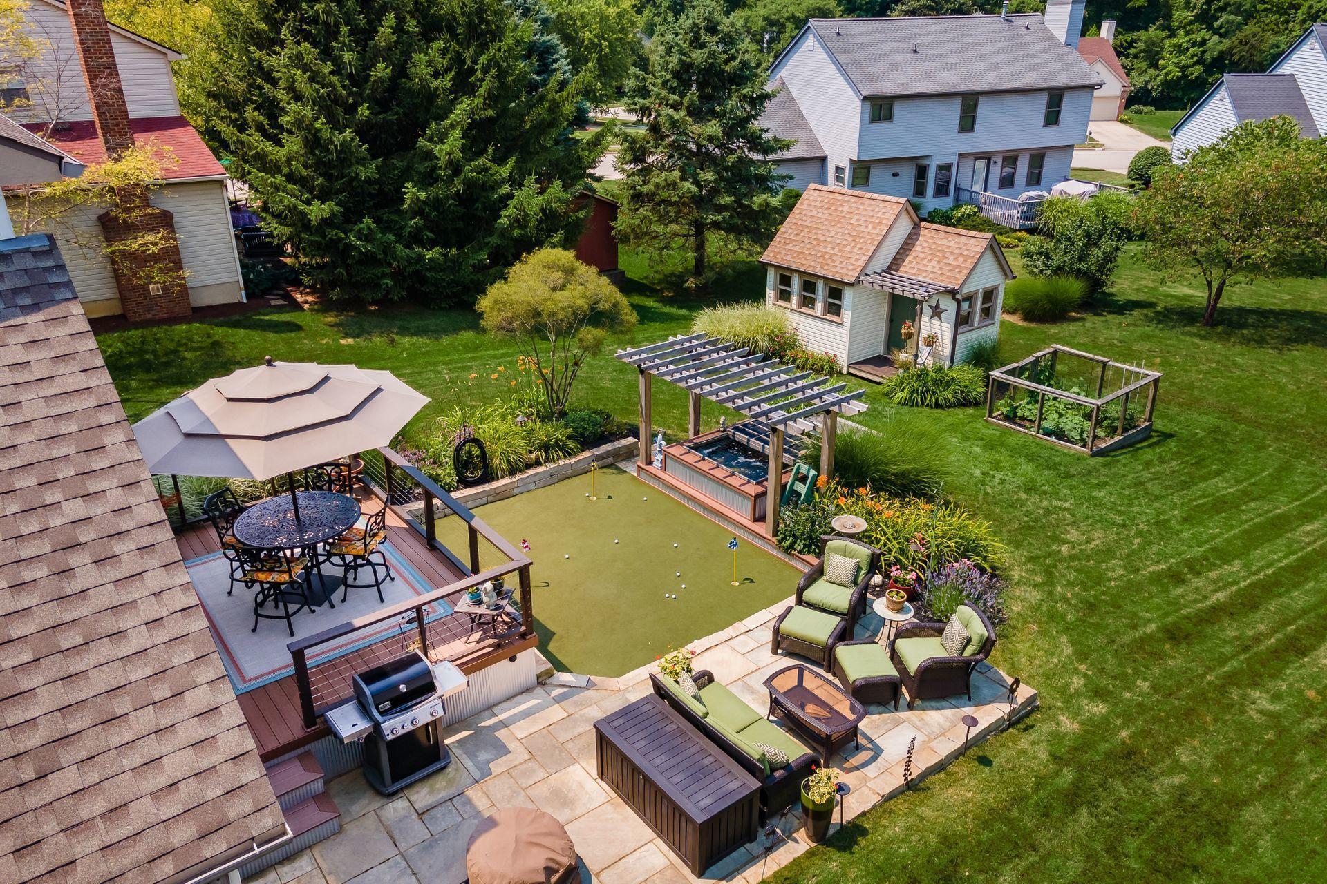 Aerial backyard