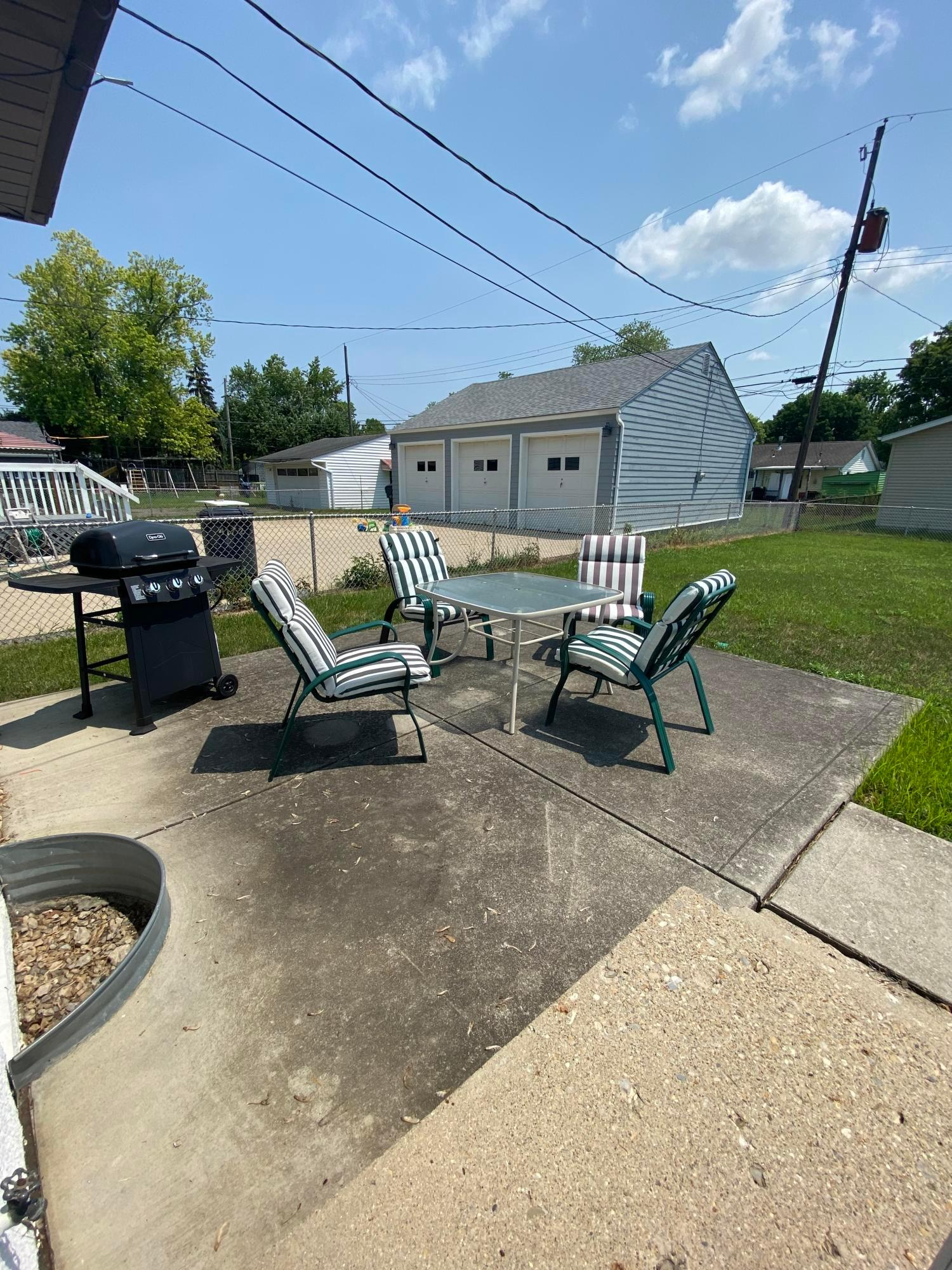 Back patio for cookouts