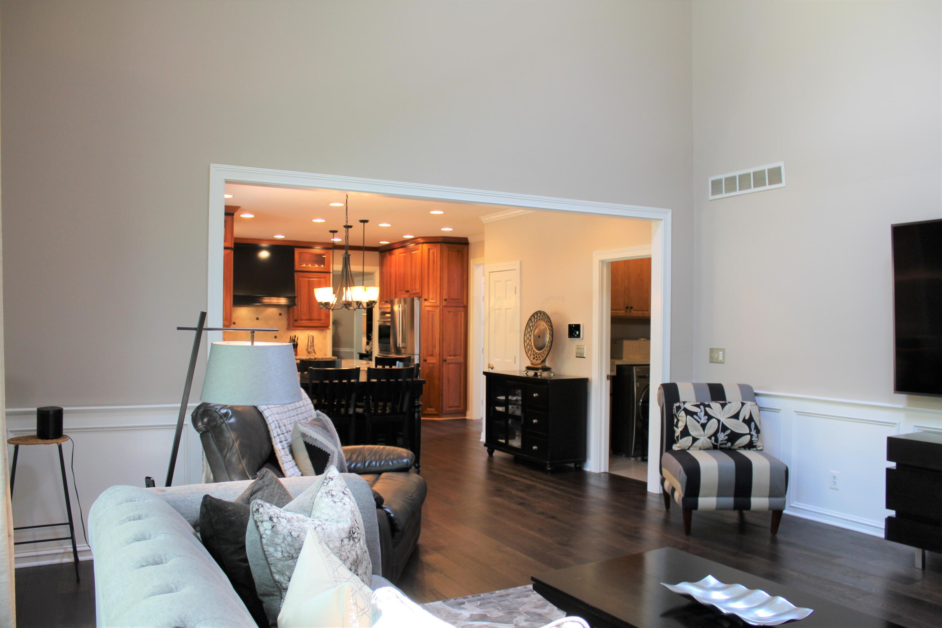 Family room view to laundry & dinette