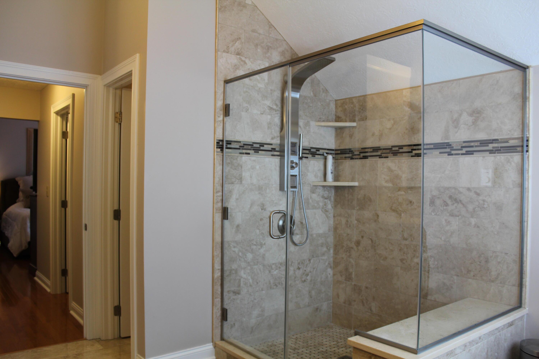 Rain shower head marble & glass surround