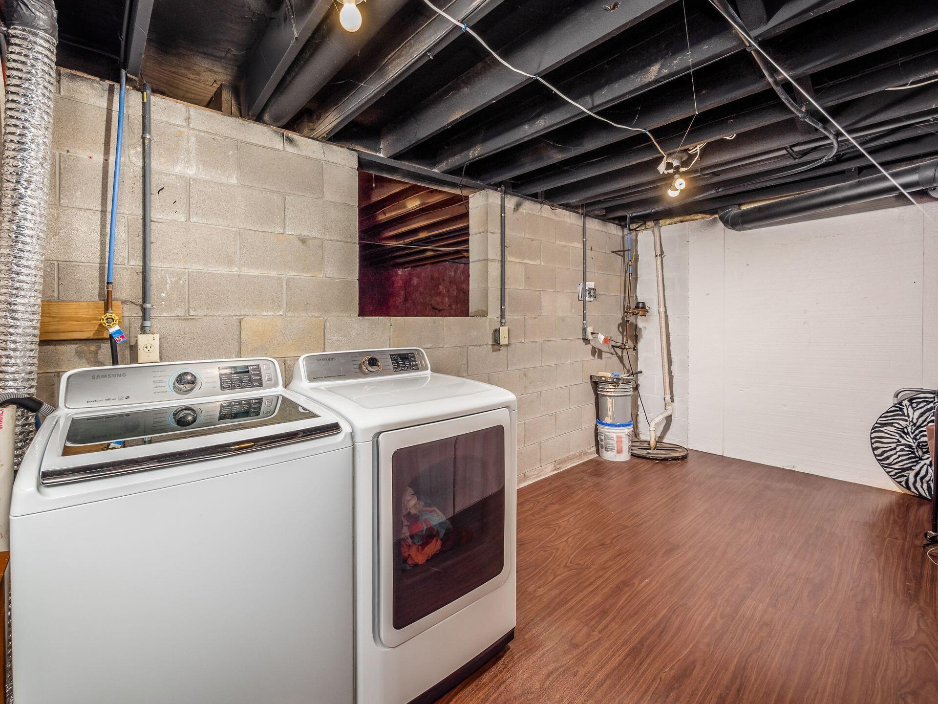 Laundry room & crawl space in basement