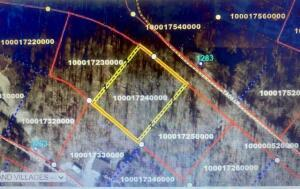 Aerial view of 3 lots with middle one highlighted.