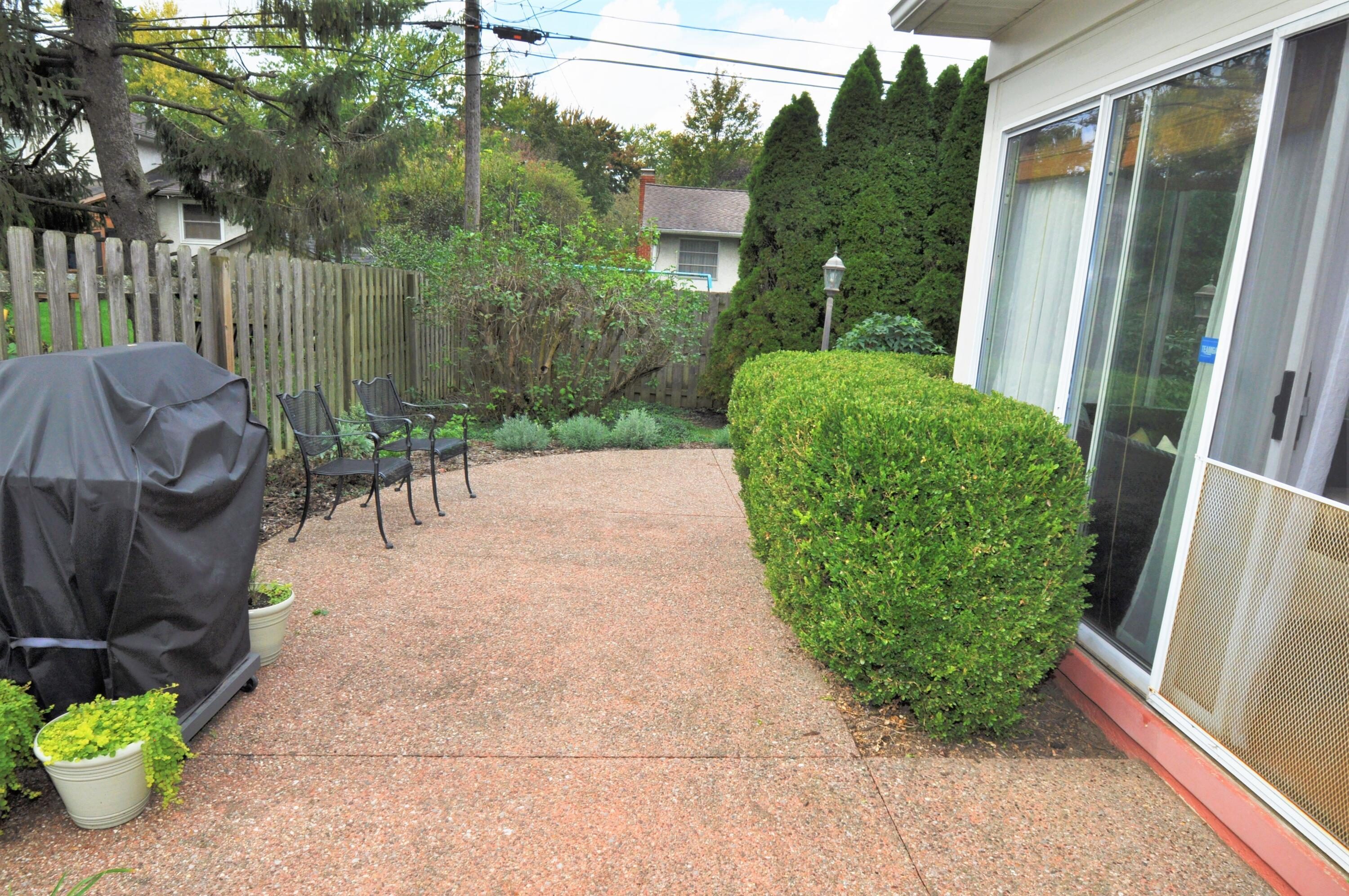 Lushly landscaped Patio Area