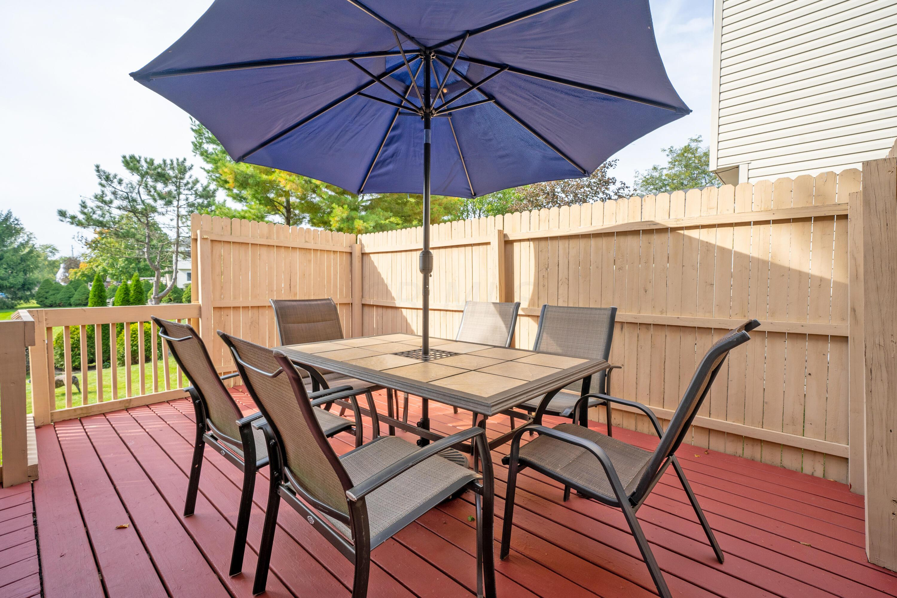 Outdoor deck with privacy fence