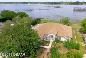Aerial view of lake front home