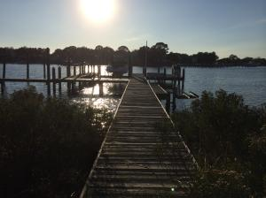 Beautiful water views from the existing dock at this deep-water Kelly Plantation waterfront lot