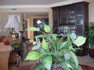 """VIEW FROM """"INFORMAL"""" DINING TABLE TO WET BAR AND FOYER"""